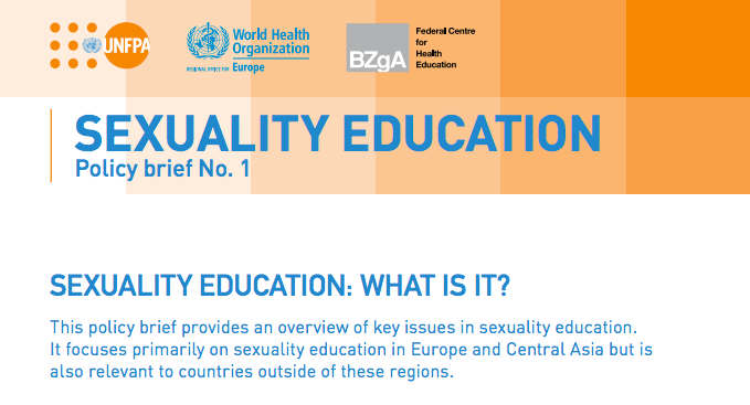 First page of the document. Sexuality Education: What is it? Policy brief number one.